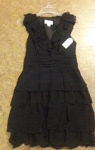 Black Tiered Ruffle Cocktail Dress NWT
